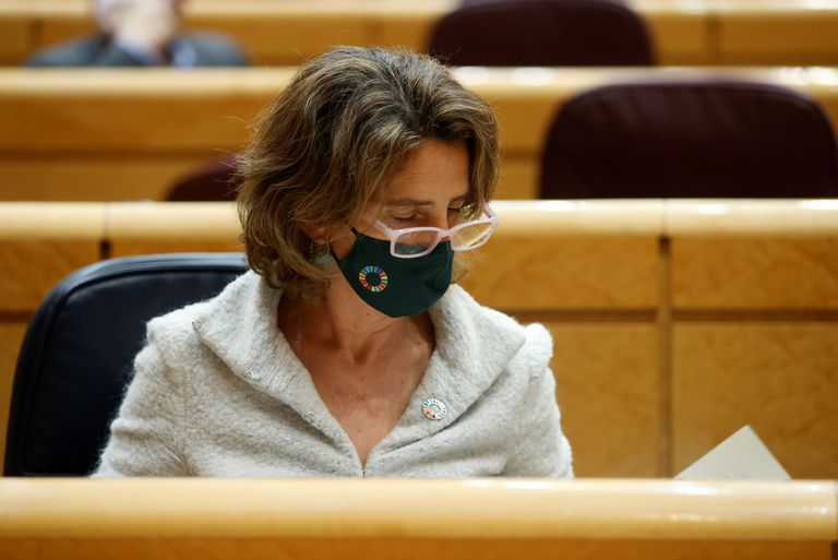 The Minister for the Ecological Transition, Teresa Ribera, this Monday in the Senate.