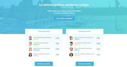 Captura de pantalla de la plataforma Atlas Político.