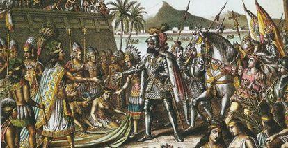 Grabado de Hernán Cortes entrando en Tenochtitlán