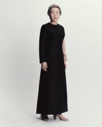 Youn Yuh-jung, on the Sunday before the BAFTAs, dressed as Dior Haute Couture with a Maria Grazia Chiuri design.