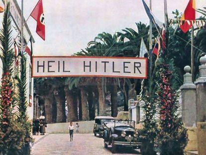 Pancarta de saludo a los marinos alemanes que desembarcaban en Puerto de la Cruz.