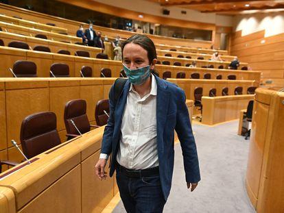 El vicepresidente segundo del Gobierno y líder de Podemos, Pablo Iglesias, en el Senado.