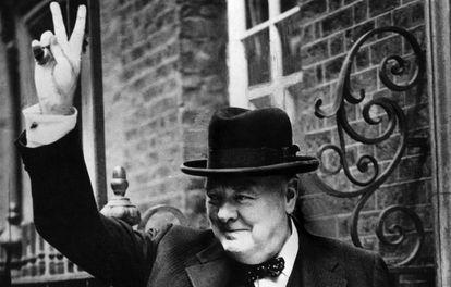Winston Churchill, en Downing Street (Londres) en 1943.