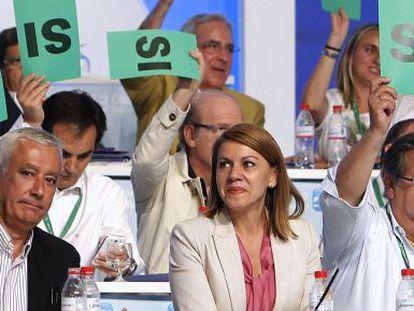 Arenas, Cospedal y Zoido, en el congreso de la sucesión del pasado julio.
