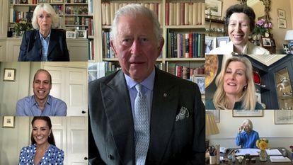 El príncipe Carlos (en el centro), en una videoconferencia con otros miembros de la familia real británica, el 12 de mayo de 2020: Camilla de Cornualles, Guillermo y Kate de Cambridge, la princesa Ana, Sophie de Wessex y la princesa Alexandra.