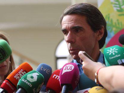 El expresidente del Gobierno José María Aznar en Málaga este miércoles.