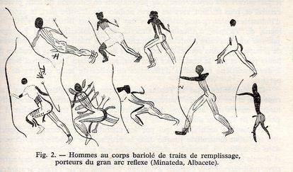 Rubbings of archery figures belonging to the Abrigo Grande de Minateda, made by Breuil in 1920.