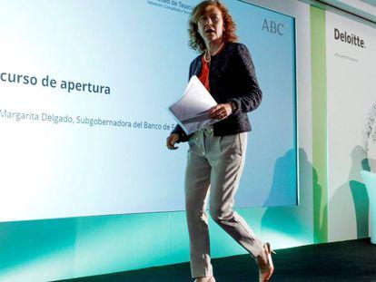 La subgobernadora del Banco de España, Margarita Delgado en la inauguración del XXVI Encuentro del Sector Financiero en Madrid.
