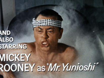 Mickey Rooney interpreta a un japonés en 'Desayuno con diamantes'.