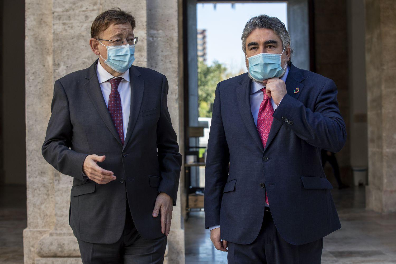 El presidente de la Generalitat, Ximo Puig, y el ministro de Cultura, José Manuel Rodríguez Uribes.