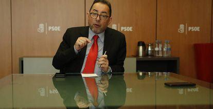 Gianni Pittella, en la sede del PSOE, en febrero de 2017.