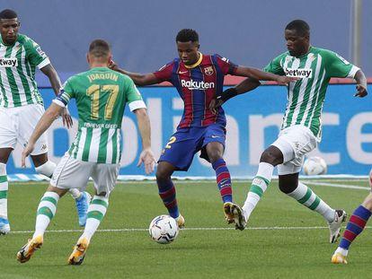 Ansu Fati, en su último encuentro con el Barcelona, en noviembre.