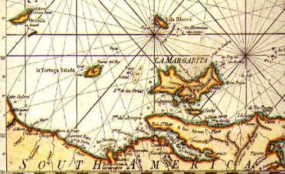 Antiguo mapa británico de la isla Margarita, en Venezuela.