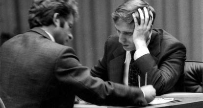 Spassk y Fischer, en sus partidas en Islandia, en 1972.