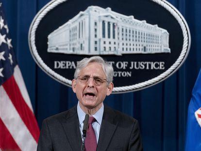 El fiscal general de EE UU, Merrick Garland, comparece ante la prensa sa el miércoles.