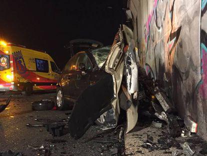 Vehículo en el que murió en septiembre de 2019 la víctima de un conductor kamikaze en la M-50 (Madrid).
