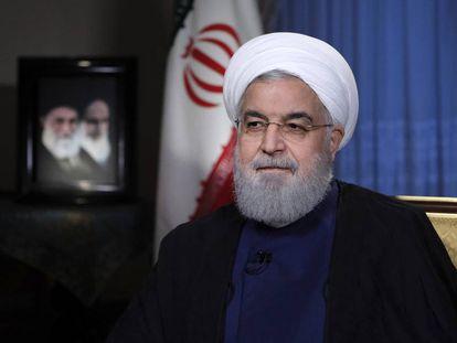 El presidente de Irán, Hassan Rohaní, durante una alocución televisiva el pasado lunes día 6.