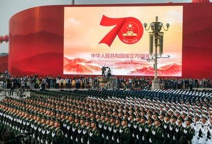 Militares chinos, el pasado 1 de octubre en Tiananmen durante el último ensayo del desfile.
