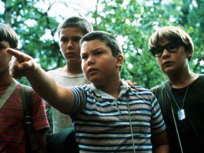 Los chicos de la película 'Cuenta conmigo' a punto de descubrir una nueva palabra para su jerga.