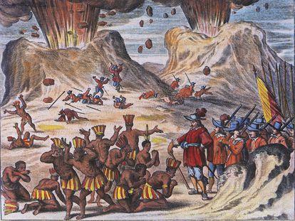 Grabado del siglo XVII que ilustra el encuentro entre la tribu de Tlaxcala y los soldados de Hernán Cortés entre los volcanes Popocatépetl y Iztaccíhuatl.