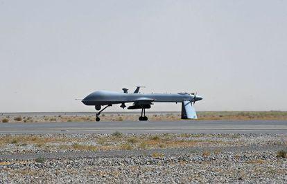Un dron de la Fuerza Aérea de Estados Unidos en el aeropuerto de Kandahar (Afganistán).
