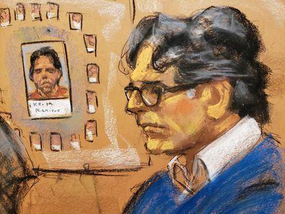 Un boceto de Keith Raniere, fundador de NXIVM, en su juicio en Nueva York.