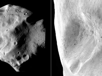 Imágenes de Lutetia tomadas por la nave espacial 'Rosetta' durante su maniobra de sobrevuelo: vista general (izquierda) y detalle (derecha)