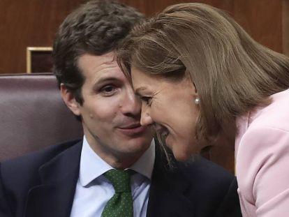 Pablo Casado y María Dolores de Cospedal, en el Congreso, el pasado octubre.