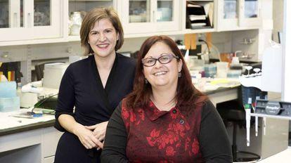 Marie Josée Hébert (izquierda) y Mélanie  Dieudé, miembros del centro de investigación del Hospital de la Universidad de Montreal.