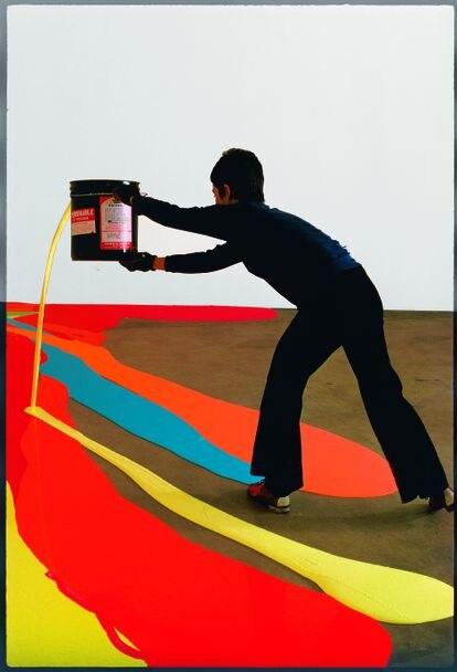 Artist Lynda Benglis in her studio in Rhode Island in 1969.