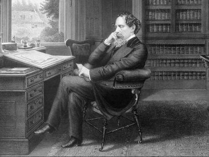 Charles Dickens en su estudio en Gads Hill Place, Inglaterra. Grabado de Samuel Hollyer, 1875.