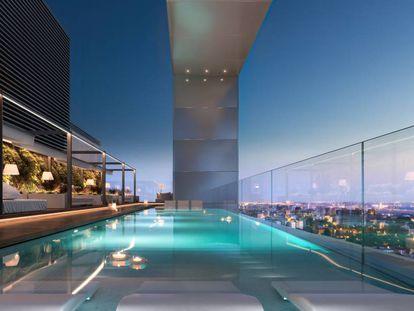 Recreación de la piscina en una de las azoteas del Proyecto Skyline.