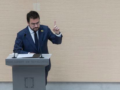Pere Aragonès durante su última intervención antes de la votación en la segunda sesión del debate de investidura.