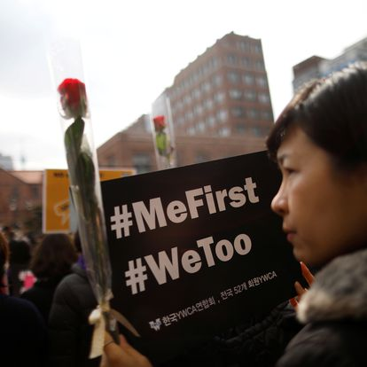FILE PHOTO: Women attend a protest as a part of the #MeToo movement on International Women's Day in Seoul, South Korea, March 8, 2018.   REUTERS/Kim Hong-Ji/File Photo