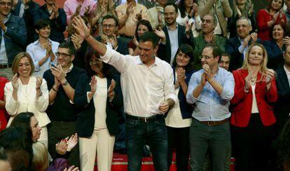 Pedro Sanchez, secretario general del PSOE, en el acto de presentación de candidatos al Congreso de su partido.