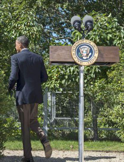 El presidente de EE UU, Barack Obama, tras la rueda de prensa sobre Egipto.