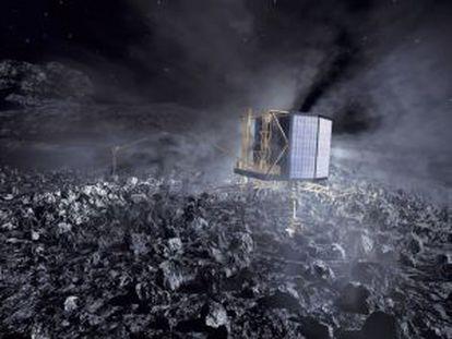 Ilustración de la sonda de descenso `Philae´ en la superficie del cometa 67P/Churyumov–Gerasimenko.
