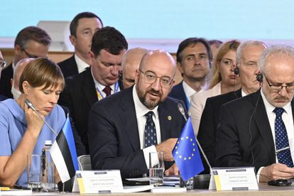 El presidente del Consejo Europeo, Charles Michel, durante la cumbre de la Plataforma de Crimea, en Kiev, este lunes.