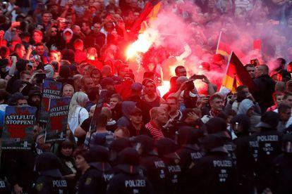 Manifestación de la extrema derecha en Chemnitz.