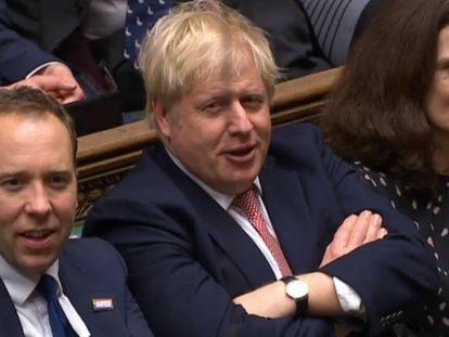 Boris Johnson, durante la votación en la Cámara de los Comunes, este jueves.