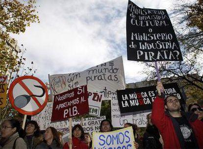 Manifestación organizada por la Asociación de Productores de Música de España que tuvo lugar el martes en Madrid.