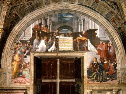 'La misa de Bolsena', obra de Rafael Sanzio en la Sala de Heliodoro del Vaticano.