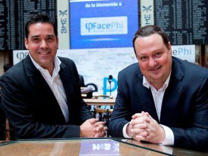 Javier Mira (izquierda) y Salvador Martí, máximos responsables de Facephi, el día de su salida al MAB
