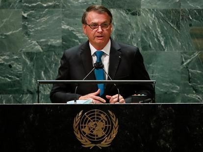 El presidente de Brasil, Jair Bolsonaro, abre la última sesión de la Asamblea General de la ONU, el 21 de septiembre de 2021 en Nueva York.