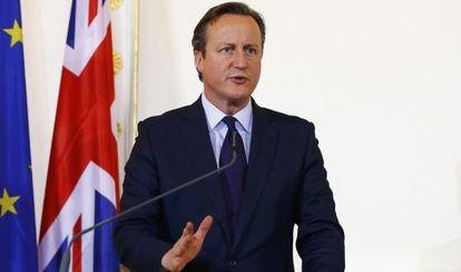 El primer ministro británico, David Cameron, en la rueda de prensa tras reunirse este jueves en Viena con el canciller austriaco.