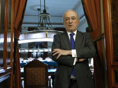 El jurista Santiago Muñoz Machado, esta tarde tras ser elegido director de la Real Academia de la Lengua Española.