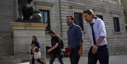 Iglesias y Garzón, este lunes tras un desayuno informativo en Madrid.