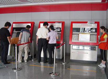 Máquinas expendedoras de billetes de Telvent (Abengoa) en el metro de Tianjin (China), subsede olímpica para las competiciones de fútbol.