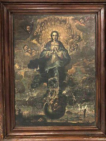 El cuadro de 'La inmaculada' que ha viajado este martes a Sijena.