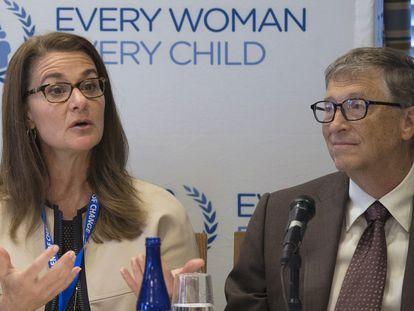 Melinda y Bill Gates en una conferencia en Nueva York en septiembre de 2015.